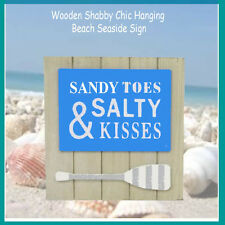 SANDY TOES & SALTY kISSES - new  nautical rustic wooden wall sign