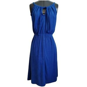 Terry Cloth Swim Cover Up Dress Size M Fits S Vintage Royal Blue Sleeveless Tie