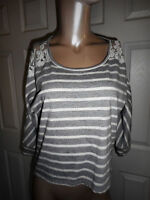 Maurices Women's S Gray & White Striped Top High Low Hemline Lace Detail 3/4 Sle