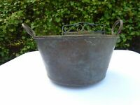 Antique Copper Pot Cauldron Flower Planter with Handles Old Aged Patina