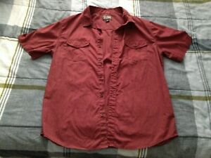Men's Retrofit Red Burgundy Button-Down Casual Short-Sleeve Shirt (Size: Large)