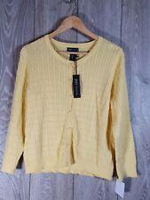 Ladies JONES New York Lemon Knit Cardigan, Large, 100% Cotton BNWT's 💥