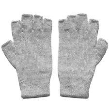 100% Alpaca Wool Fingerless Gloves Silver Gray Medium ~ Women Men Accessories