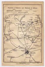 1906 ANTIQUE MAP OF VICINITY OF MILANO MILAN COMO TRAMWAY RAILWAYS ITALY
