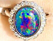 Classic Purple Australian Opal Doublet Ladies ring 7 black Sapphires Doublet O