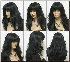 WJIA1027  charming long style black health wigs for women hair wig