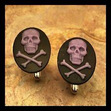 New Cufflinks Purple Black Skull Crossbones Modern Resin Cameo Silvertone M10