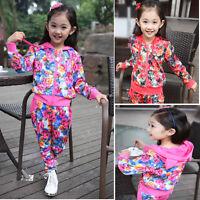 Gorgeous Girls Kids Hoodies+Pants 2PCS Set Flower Track Suit Sportswear Outfit