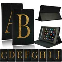 Fit Amazon Fire 7 / HD 8 / HD 10 Tablet - Initial Name Leather Stand Cover Case