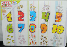 Pull out by handle Wooden numbers 1 -10 puzzle & pictures 29.5cm x 21.5cm P99