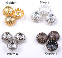 100pcs 8mm bead caps hollow flower silver plated metal diy jewelry Necklace 3009