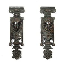 Pair of Antique French Bronze Furniture Decorations, Woman Head, Pilaster