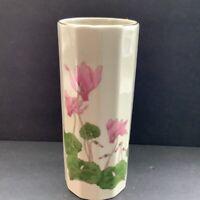 Vintage Ornate  Japanese Cylinder Vase by Otagiri Pink Cyclamen Flower Motif