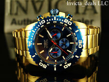 Invicta Men's 48mm Pro Diver Chronograph 18K Gold Plated Blue Dial SS Watch