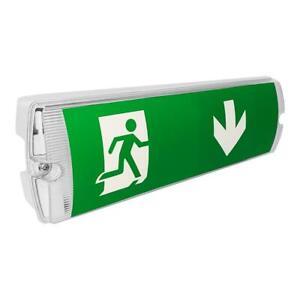 LED Emergency Rectangular Bulkhead Light c/w Optional Fire Exit Legend Stickers