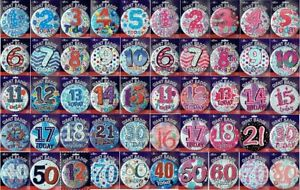 JUMBO LARGE BIRTHDAY BADGES ALL AGES 1ST - 80TH & BIRTHDAY GIRL and BOY