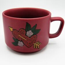 Starbucks 2 Hearts Cupids Arrow Mug Love White Flowers Red Embroidered 2018