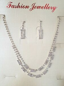 Wedding Party Necklace Earrings Set with Rhinestones in Silver Colour