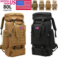 80L Large Military Shoulders Backpack Waterproof Tactical Climbing Hiking bag