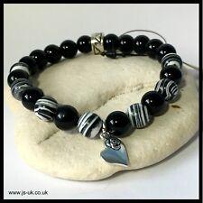 Holistic Healing Bracelet, Onyx, Stripe Jasper with Rose Heart Charm