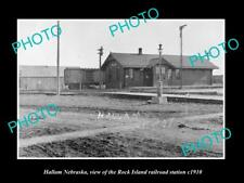 OLD LARGE HISTORIC PHOTO OF HALLAM NEBRASKA, ROCK ISLAND RAILROAD DEPOT c1910 1