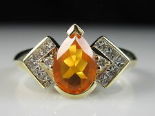 14K Mexican Fire Opal Diamond Ring Yellow Gold Fine Jewelry Orange GenuineSize 8