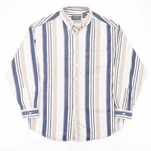 COMPTON & ASHLEY  Beige 00s Long Sleeve Striped Shirt Mens M