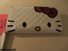 HELLO KITTY WHITE RED QUILTED FACE WALLET LOUNGEGLY NWT