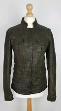 Q561 DKNY Ladies Bottle Green Leather Biker Style Jacket, Small