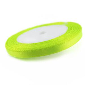Satin Ribbon Neon Yellow 20M Spool 7mm Wide