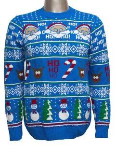 Santa, Reindeer, Snowman, Happy Holidays Jumper, Festive Knitwear FREE DELIVERY