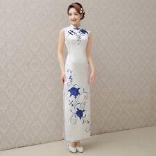 USA seller white Chinese long Women Qipao Dress Evening Cheongsam Asian Size L