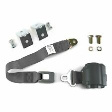 2pt Gray/Grey Retractable Standard Buckle Seatbelt w/ Anchor Mounting Kit rod