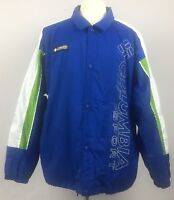 Columbia Sport Windbreaker Jacket Mens XL Blue Green White Spell Out