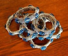 Lot 8 Blue Glass Beads and Heavy Silver Metal Napkin Holders Rings Dining Table