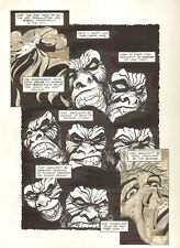 Planet of the Apes #19 p.8 - Lots of Ape Faces - 1992 art by M.C. Wyman