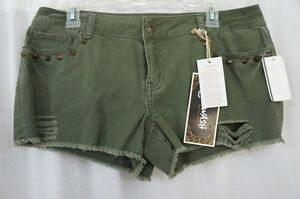 ReWash Juniors Casual Shorts Sz 9 Army Green Distressed Studded Frayed Shorts