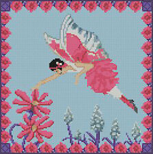 "Fairy & Flowers 2 Pink Counted Cross Stitch Kit 9.5"" x 9.5"""