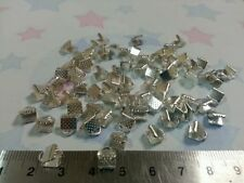 50 SILVER PLATED CALOTTE crimpare Perline 6x8mm ideale per la finitura COLLANE