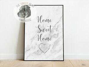 Grey Marble Effect Home Sweet Home Wall Print A3/A4/A5 Posters Gift Idea