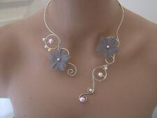 Collier Original Gris Rose Ivoire/Argenté pr robe de Mariée/Soirée perles Fleur