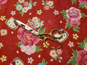 Hello Kitty Sanrio Red Kimono style 100% cotton fabric Fat Quarter 18X22