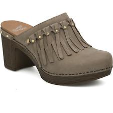 Dansko 234904 Women's Deni Milled Nubuck Taupe Leather Mule Shoes Sz. 41 M
