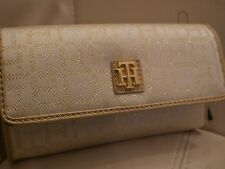 NEW W TAGS WOMEN'S TOMMY HILFIGER CHECKBOOK  WALLET GOLD SILVER CREAM SPARKLE