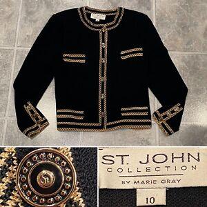 Vintage ST JOHN Size 10 Black Gold Wool-Blend Santana Stretch-Knit Blazer Jacket