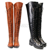 Womens Over the Knee Boots Thigh High Combat Low Heel Flat Shoes Lace Up Bandag