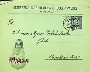 AUSTRIA 1917 WWI 3h PS ENV FROM WIEN TO BRUCK AD MER W/ WOTAN CACHET
