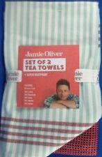 Jamie Oliver (2 Pack) Striped/plain Cotton Tea Towels Kitchen Dish Cloths