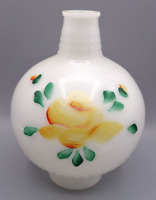 Vintage Milk Glass Hurricane Lamp Shade Globe HAND PAINTED Flower Floral Yellow