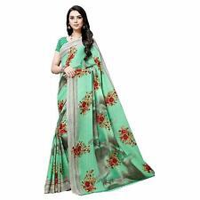 Green Floral Printed Designer Bollywood Saree Party Wear Indian Pakistani Sari